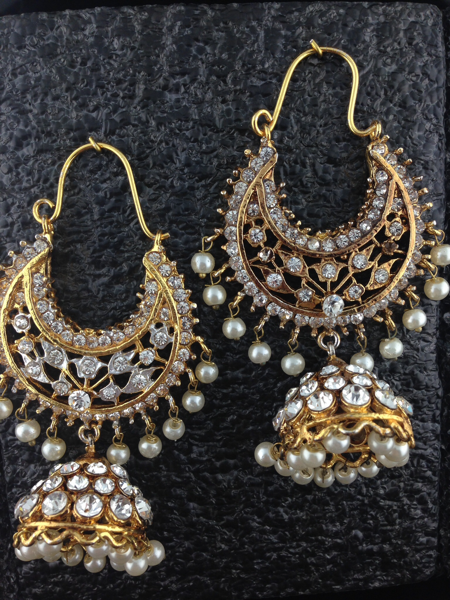 Gold Polished Chand Bali With Pearls And Crystal.