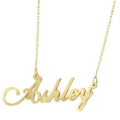 Child\'s Script Name Necklace in 10K Gold (8 Letters)