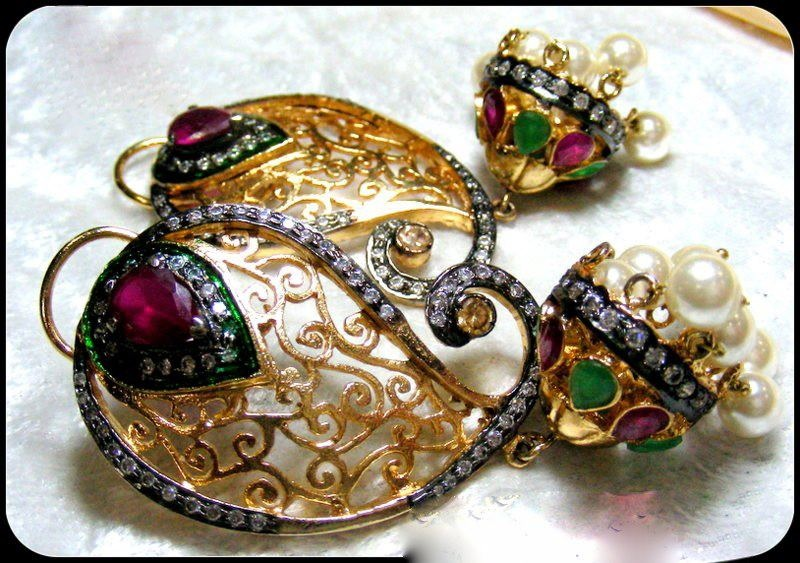 Designer Jhumkas with Emeralds and Rubies