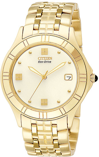 Citizen BM6242-50P Mens Watch Gold Tone Eco-Drive Lucca Off-Whit