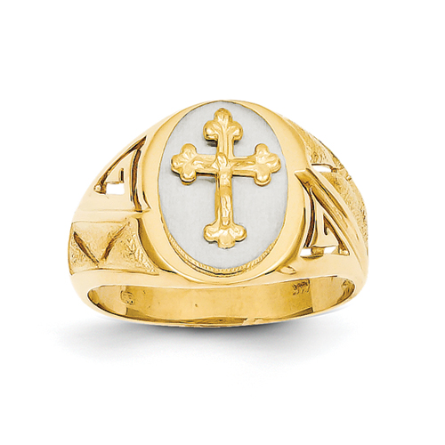 14k Two-Tone Etched-Design Cross On Top Mens Ring