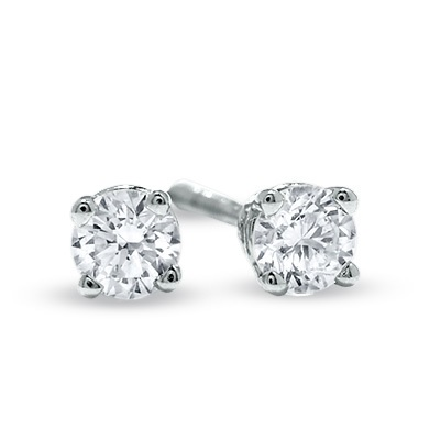 1/4 CT. T.W. Diamond Solitaire Stud Earrings in 14K White Gold