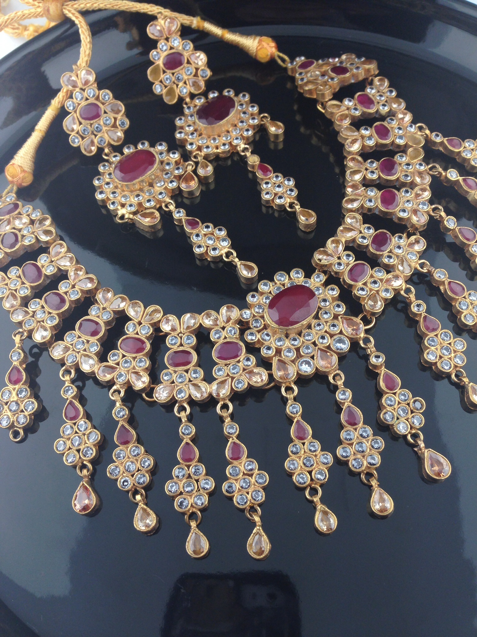 Exquisite Kundan Mala Set with Rubies, Crystals and Champagne St