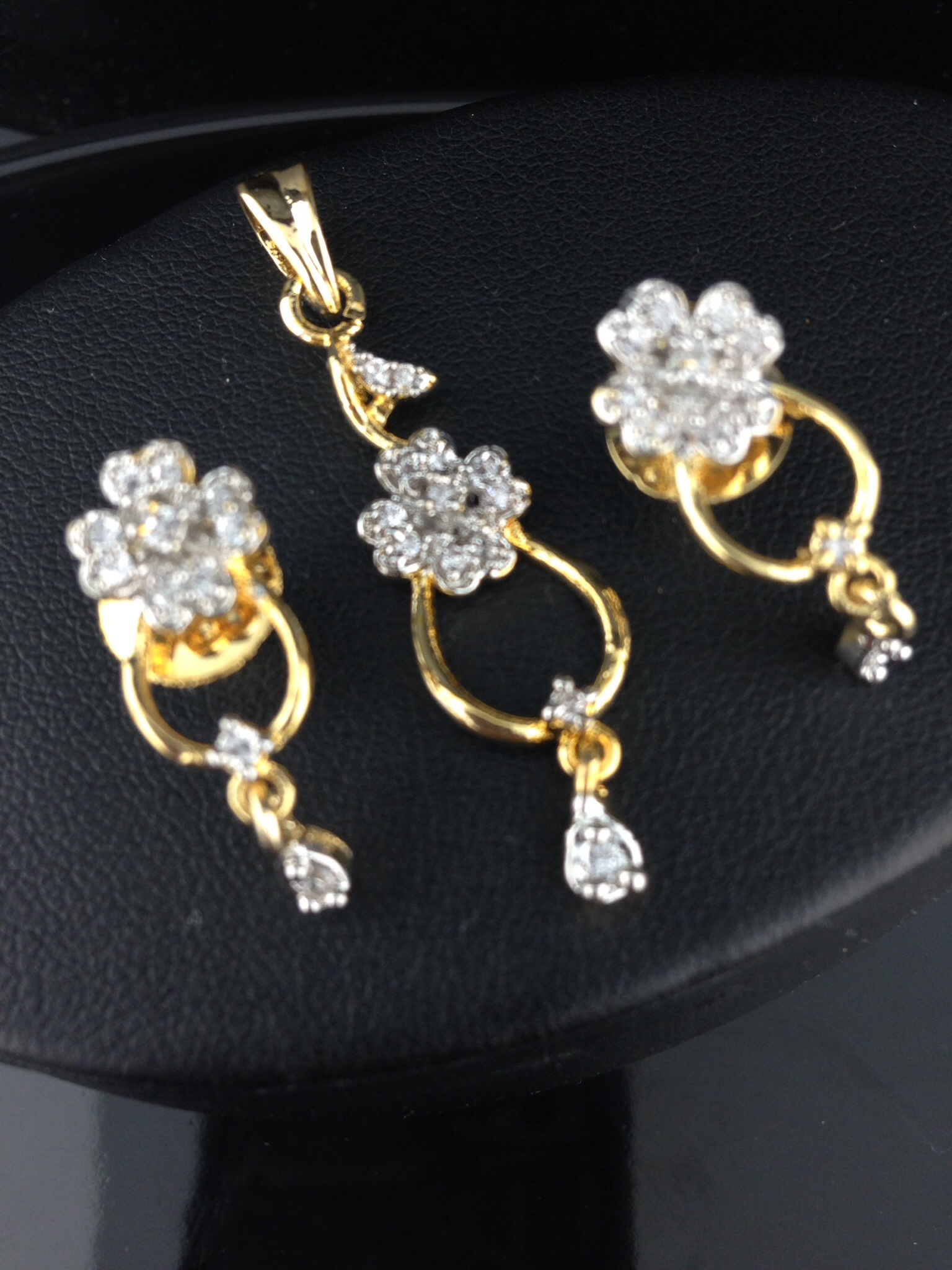 American Diamond CZ Flower Pendant Set