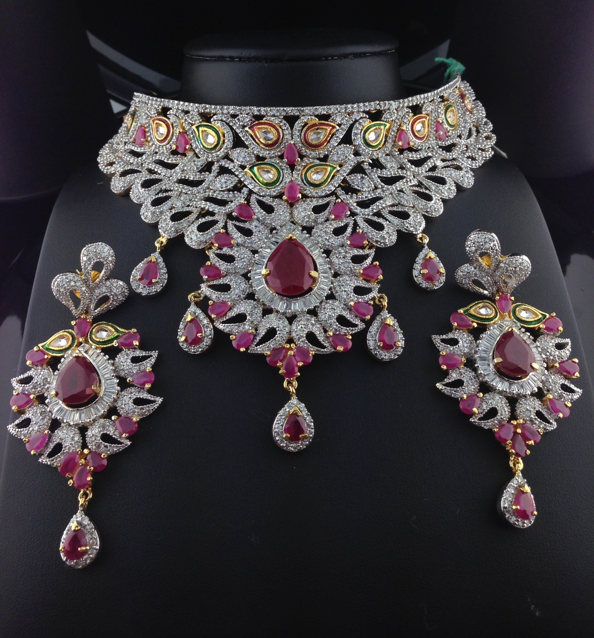 Stunning American Diamond Bridal Set With Polki Cut Rubies.