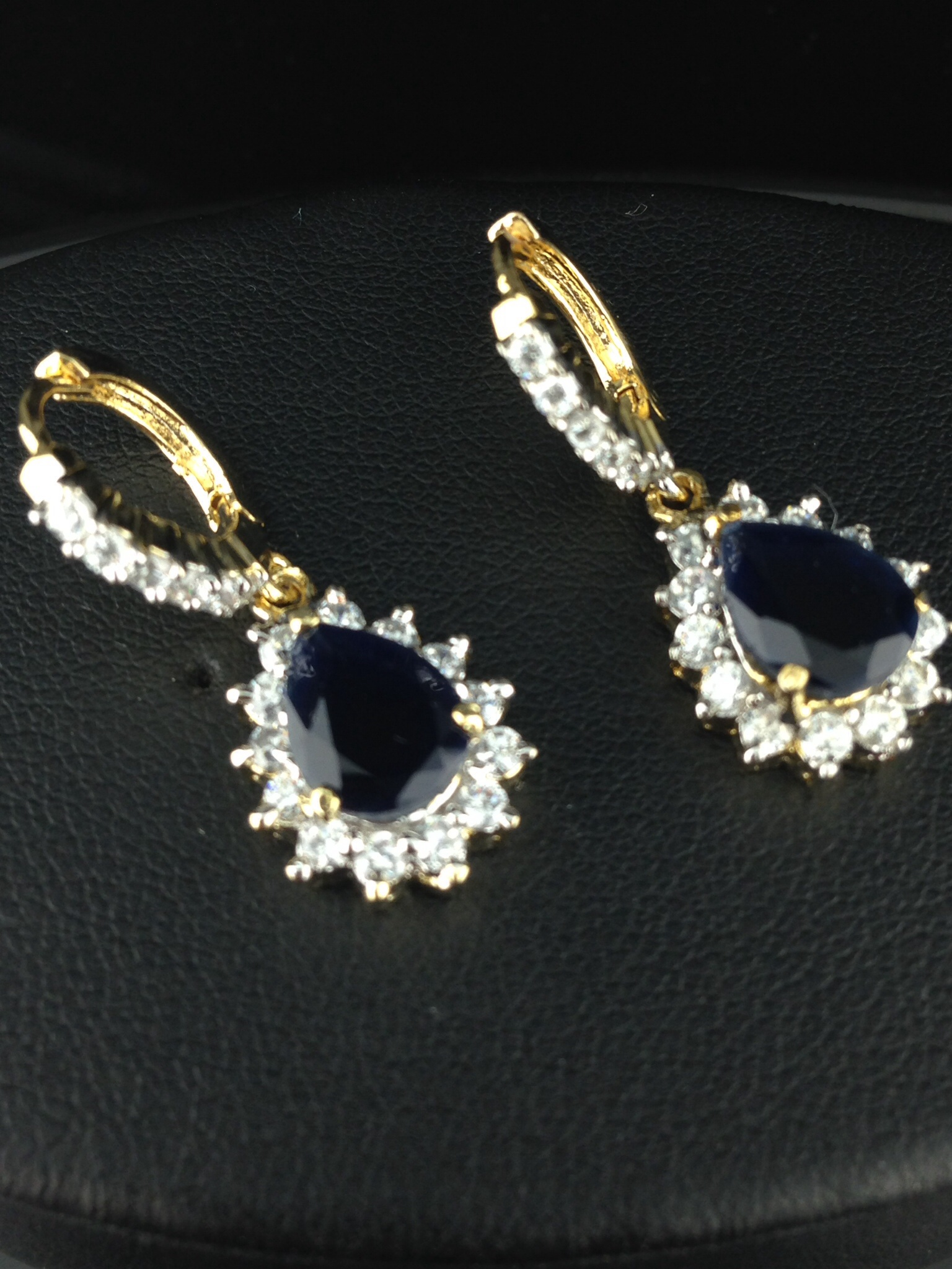 American Diamond Earring with Black Onyx