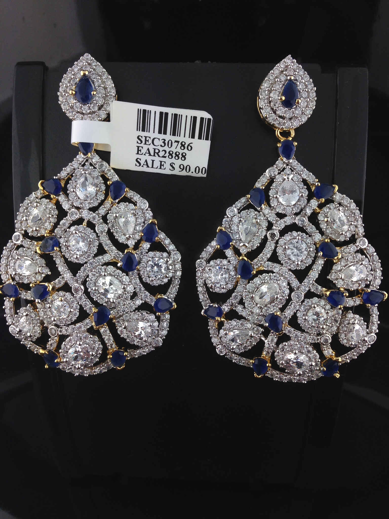 Blue American Diamond Earrings