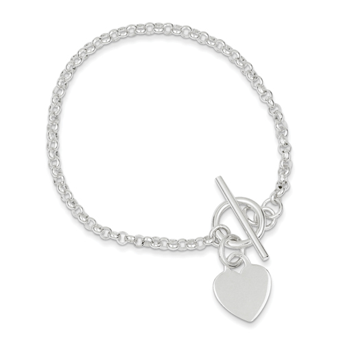 Sterling Silver Fancy Heart Bracelet