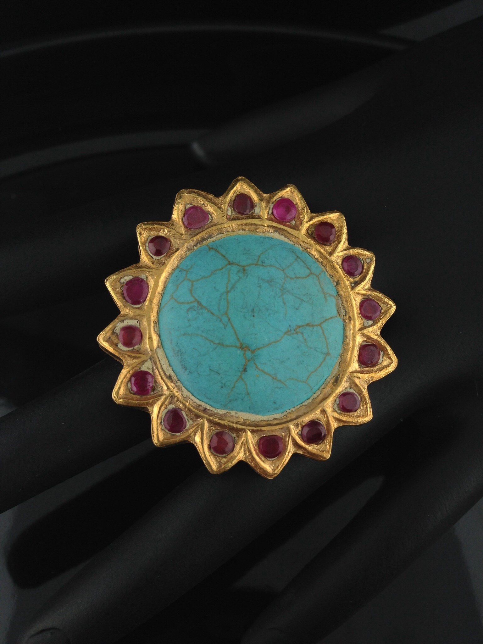 Adjustable Kundan Rings with Turquoise and Rubies.