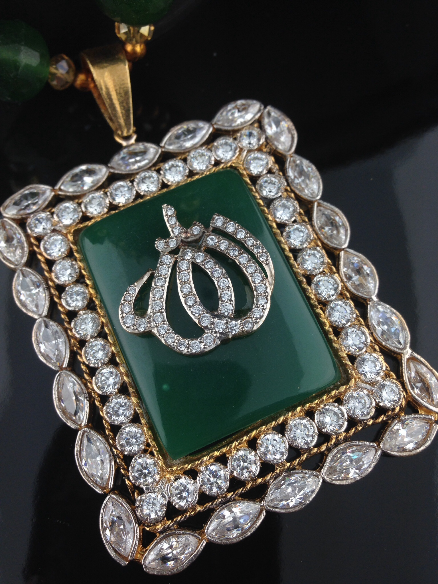 Allah CZ Emerald Pendant with Beaded Necklace