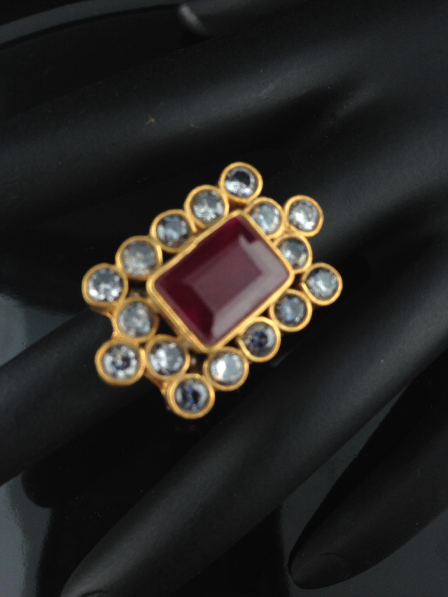 Adjustable Kundan Rings with Rubies and Crystals.