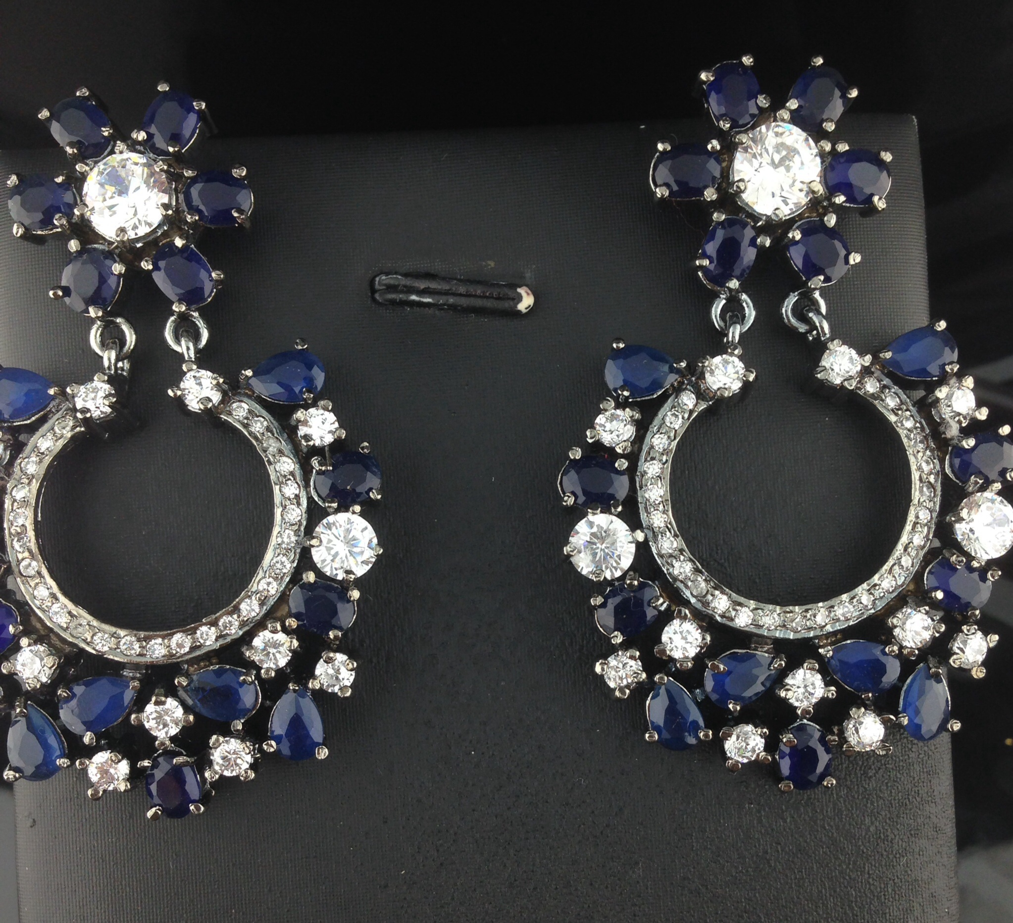 Designer Crystal And Sapphire Earrings