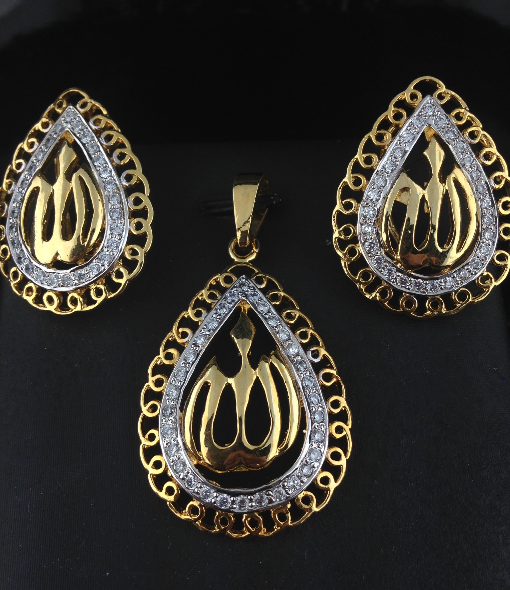 Sterling Sliver Two Tone Allah Pendant Set Tear Drop