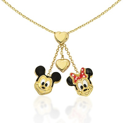 FuFoo Child\'s Enamel Mickey and Minnie with Heart Dangle Necklac