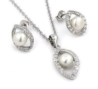Sterling Silver Marquise Cz Set W/ Synthetic Pearl