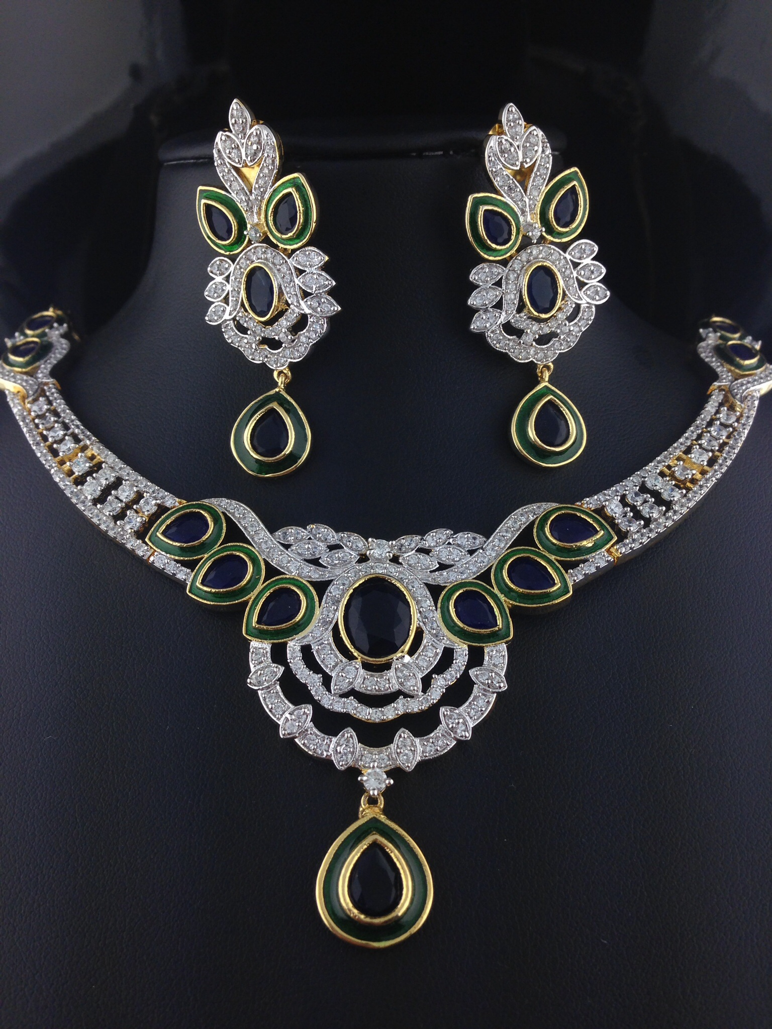 American Diamond Emerald Necklace Set