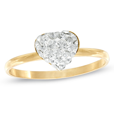 Child\'s White Crystal Heart Ring in 10K Gold