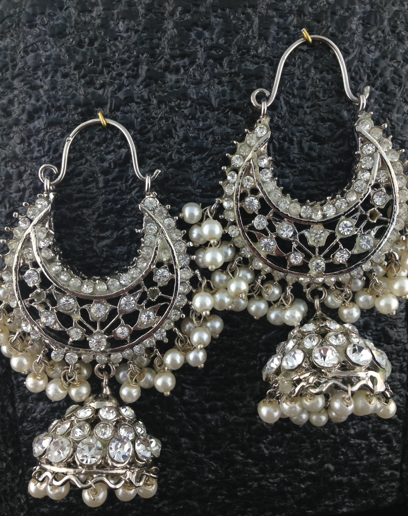 Silver Chand Bali With Pearls And Crystal.
