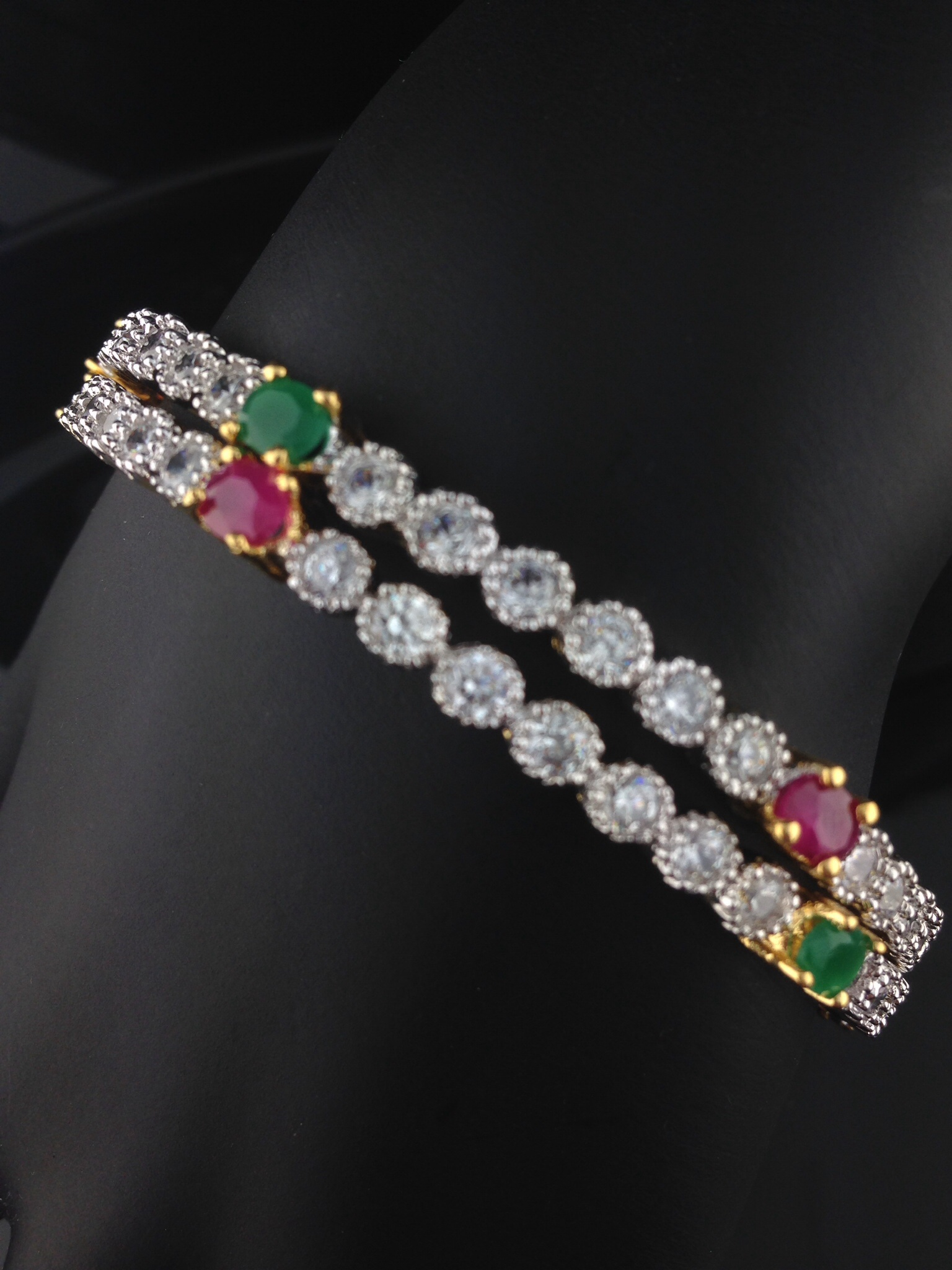 American Diamond Ruby And Emerald Bangles