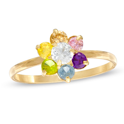 Child\'s Multi-Color Cubic Zirconia Flower Ring in 10K Gold