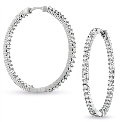 3 CT. T.W. Front and Back Diamond Hoop Earrings in 14K White Gol