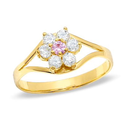Child\'s 14K Gold Cubic Zirconia Flower Ring