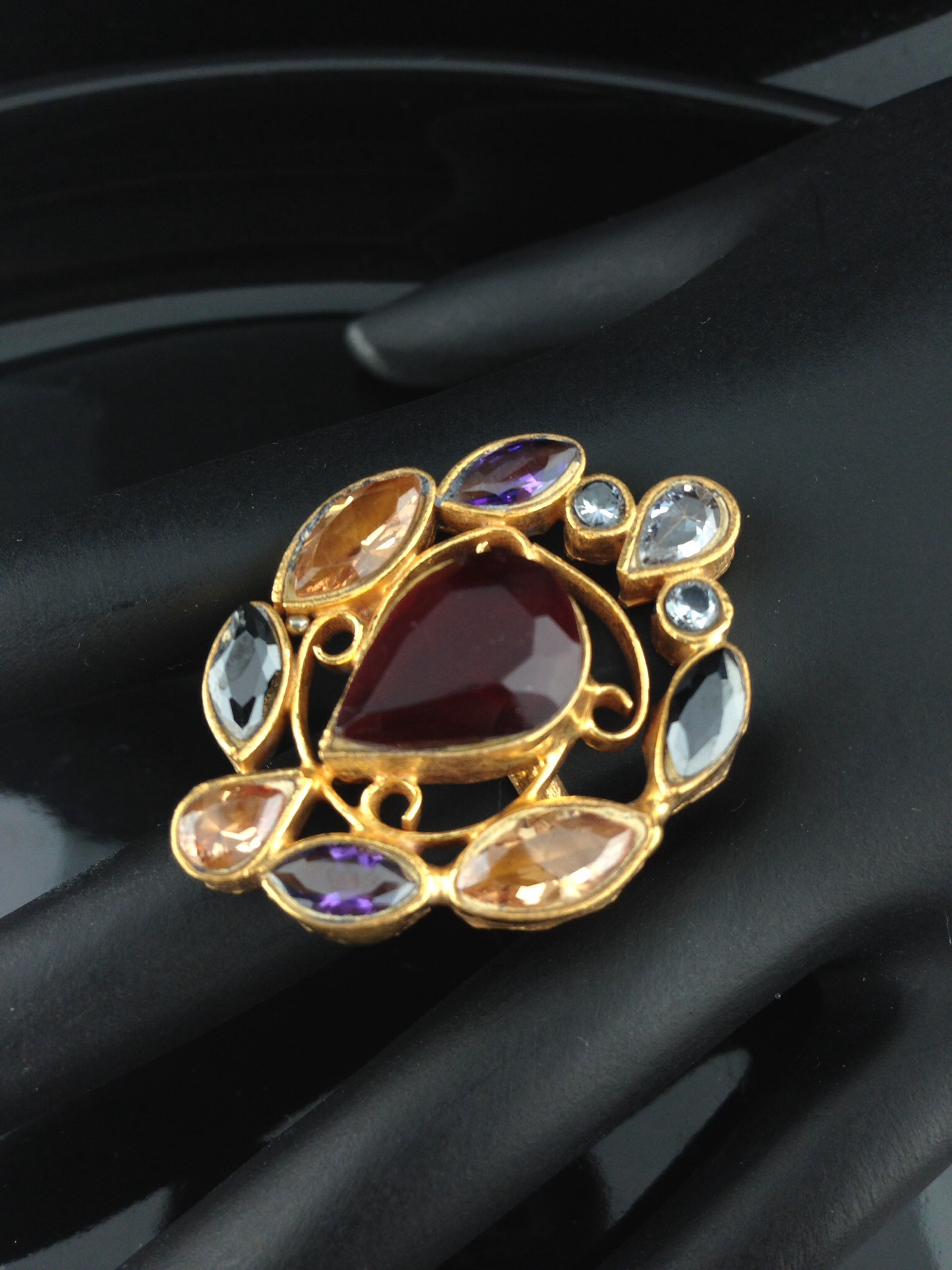 Adjustable Kundan Rings with Rubies, Crystal and Champagne stone