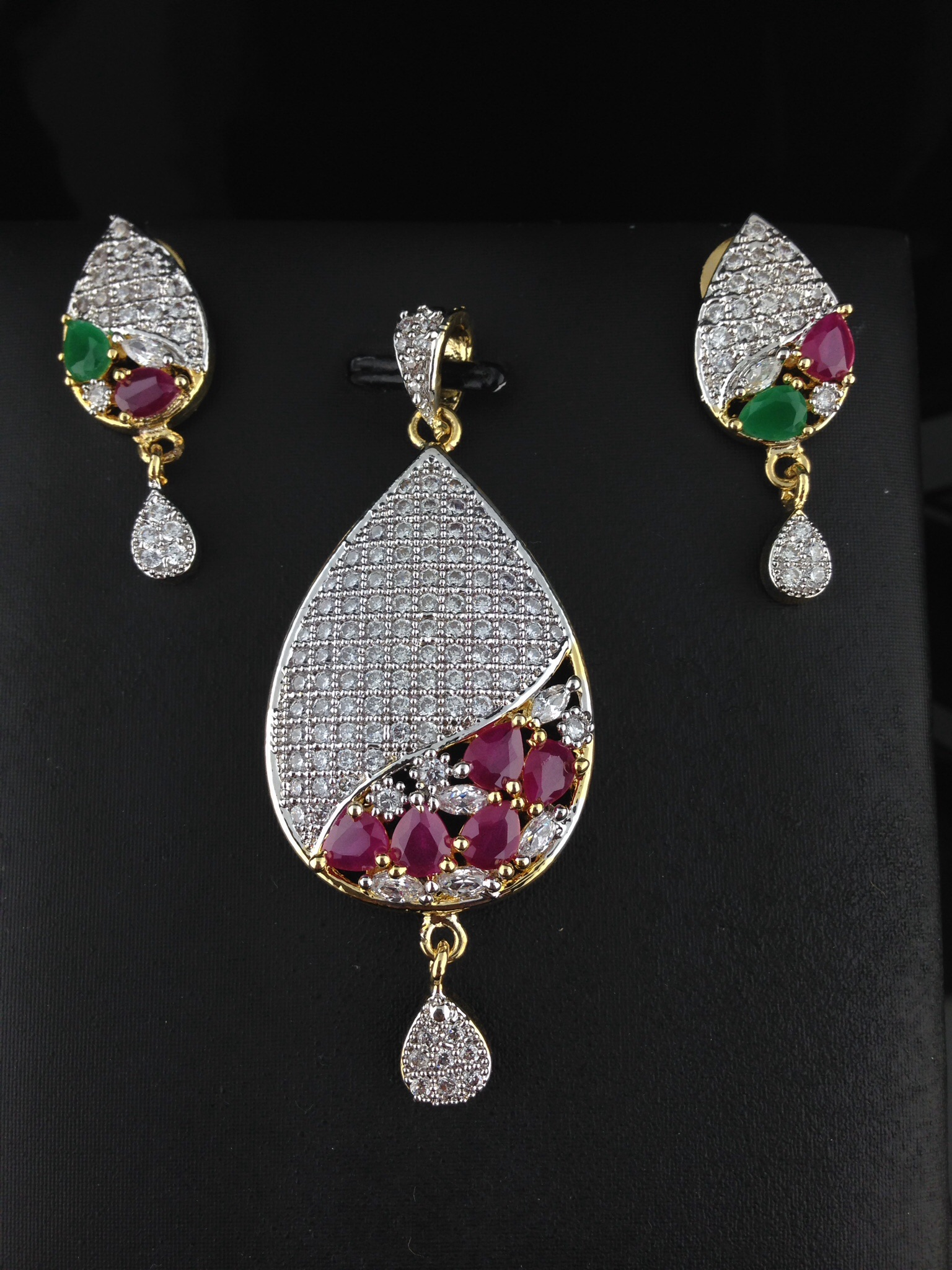 American Diamond CZ Teardrop Pendant Set With Rubies and Emerald
