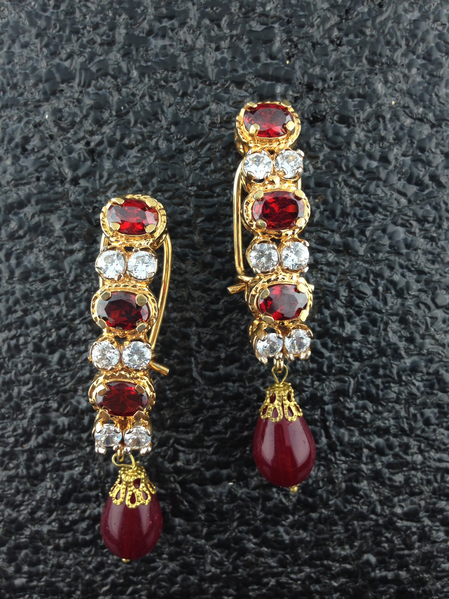 Kundan Earrings With Rubies And Crystals