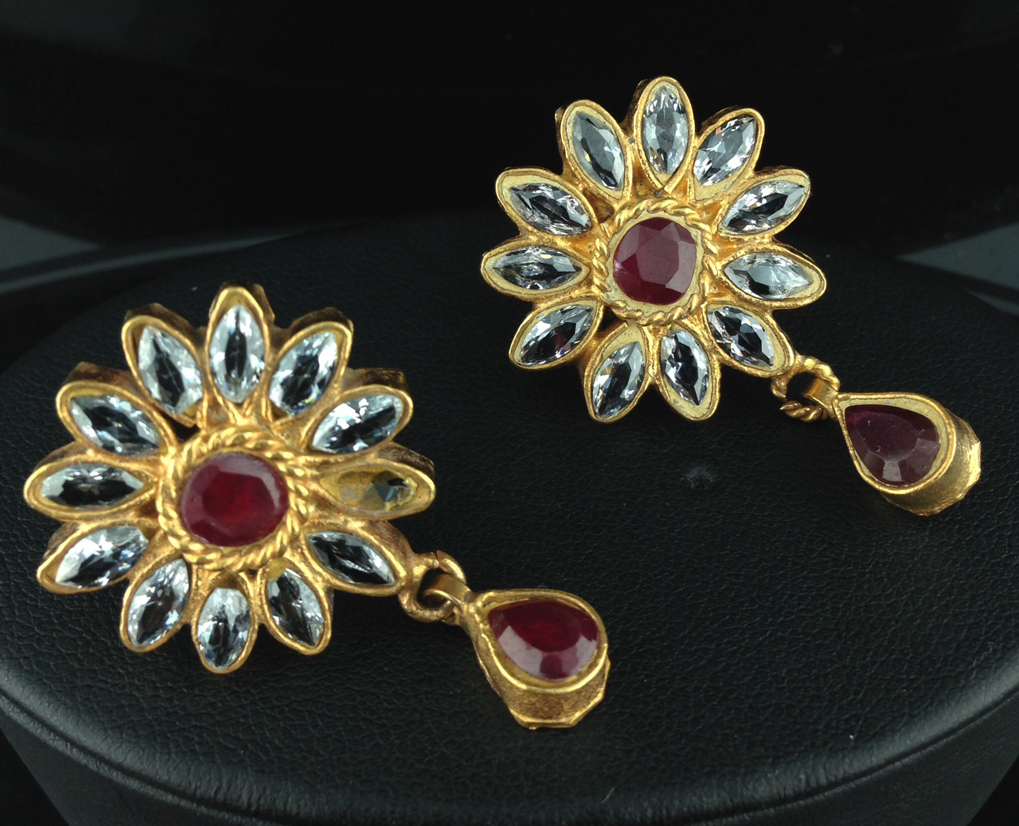 Flower Shaped Kundan Tops with Rubies and Crystals.