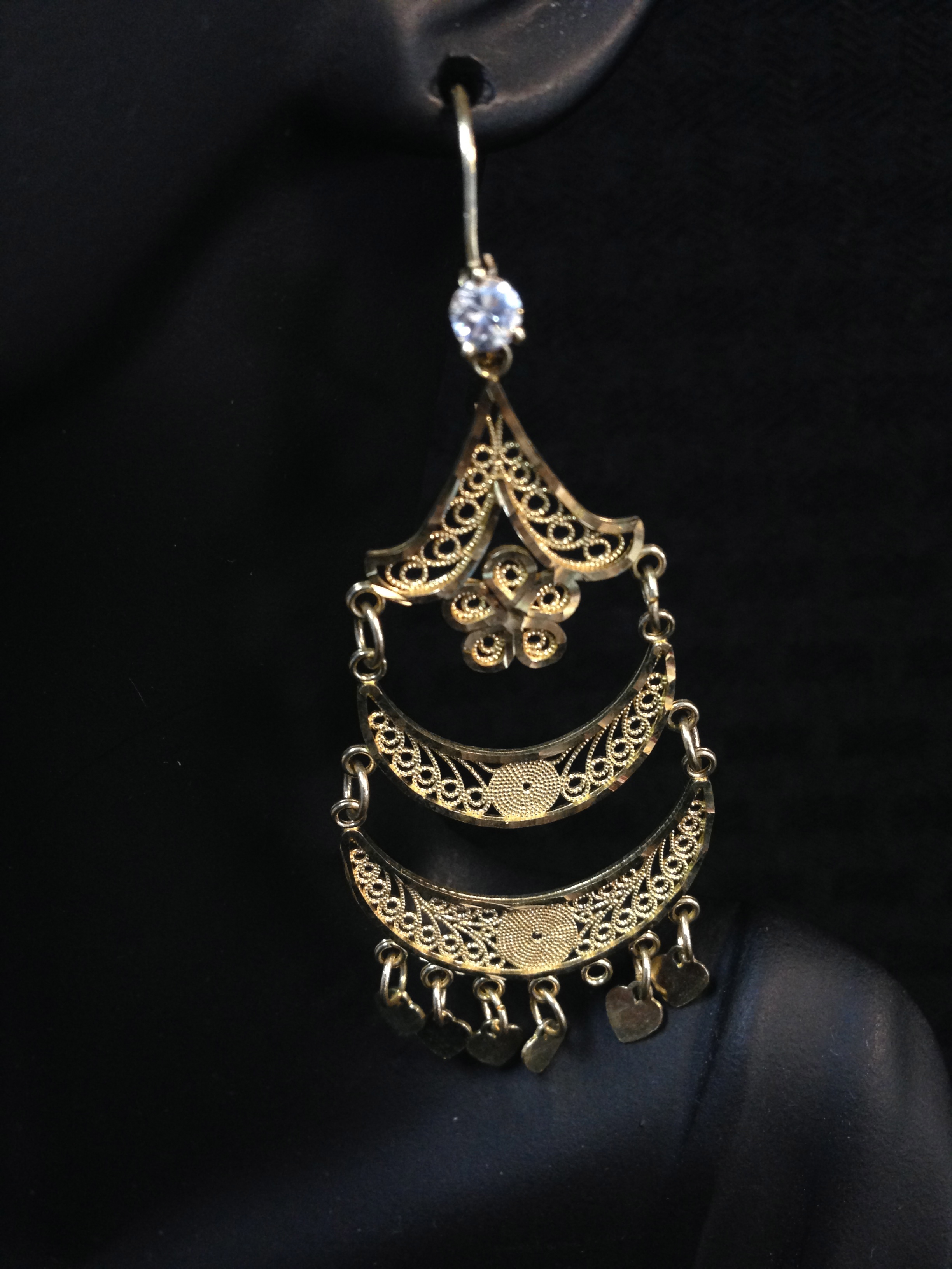 10K Gold Chandelier Style Earrings