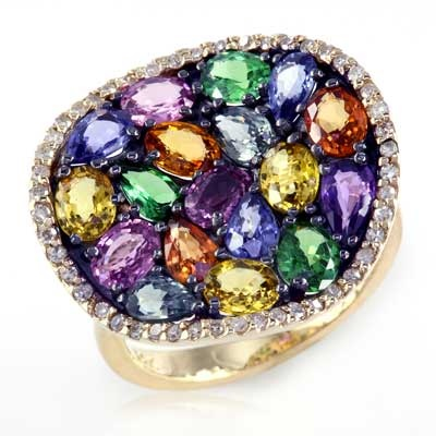 EFFY™ Collection Multi-Color Sapphire, Tsavorite and 1/5 CT. T