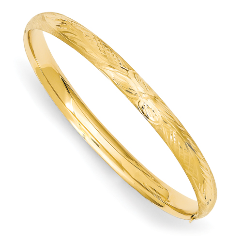 14k 3/16 Florentine Engraved Baby Bangle Bracelet