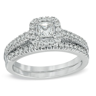 1 CT. T.W. Princess-Cut Diamond Frame Bridal Set in 14K White Go