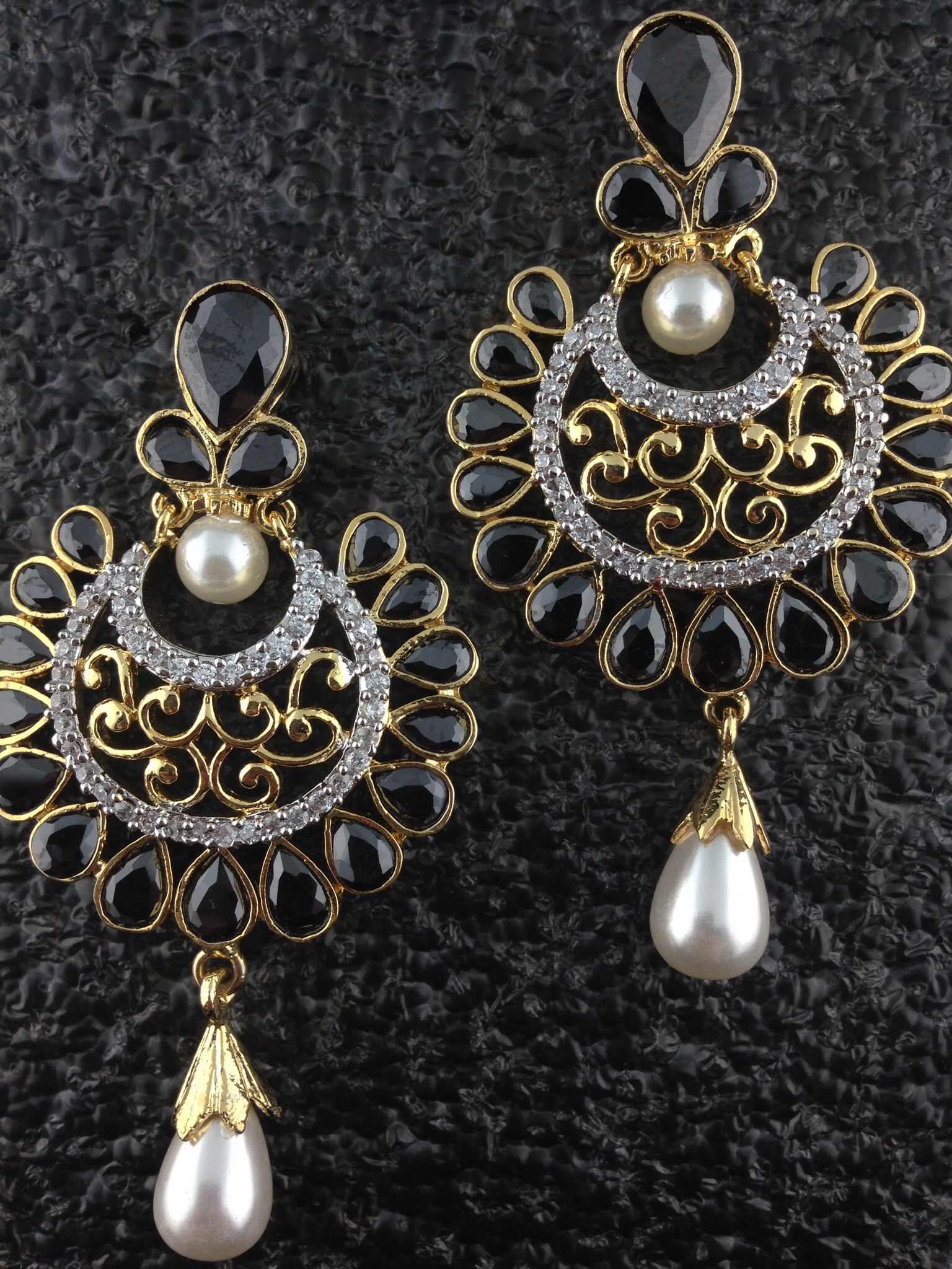 CZ Designer Circular Earrings With Black Onyx and Pearls.