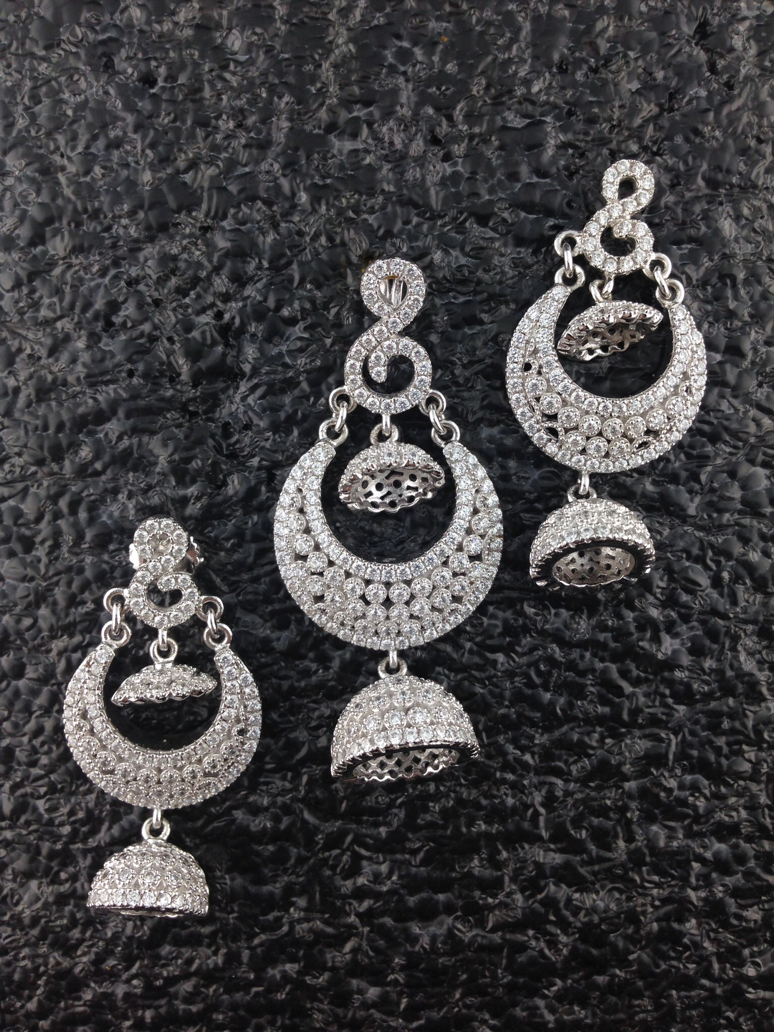 Sterling Silver CZ Pendant And Jhumkas