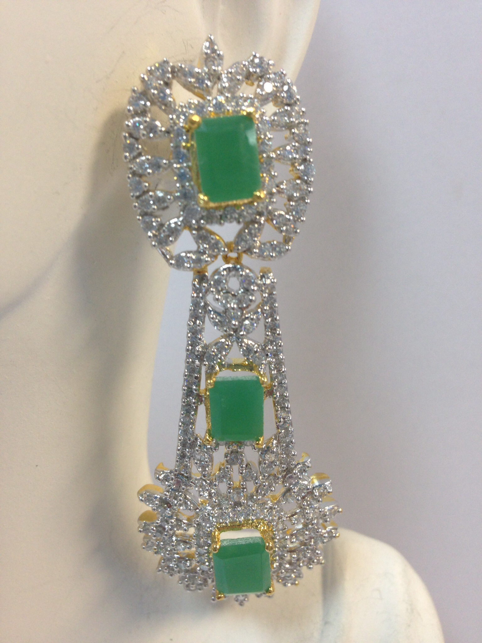 Indian Earrings With Emerald