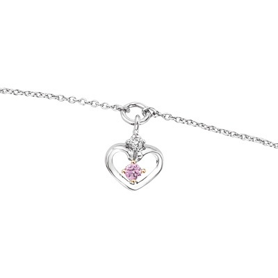 FuFoo Child\'s Cinderella Pink Sapphire and Diamond Accent Heart