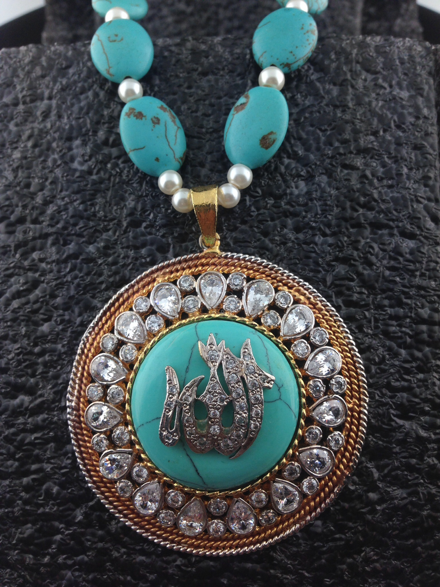 Allah CZ Turquoise Pendant with Beaded Necklace