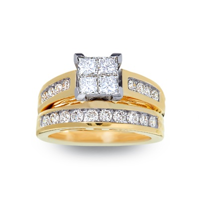 1-1/2 CT. T.W. Quad Princess Cut Diamond Bridal Set in 14K Gold