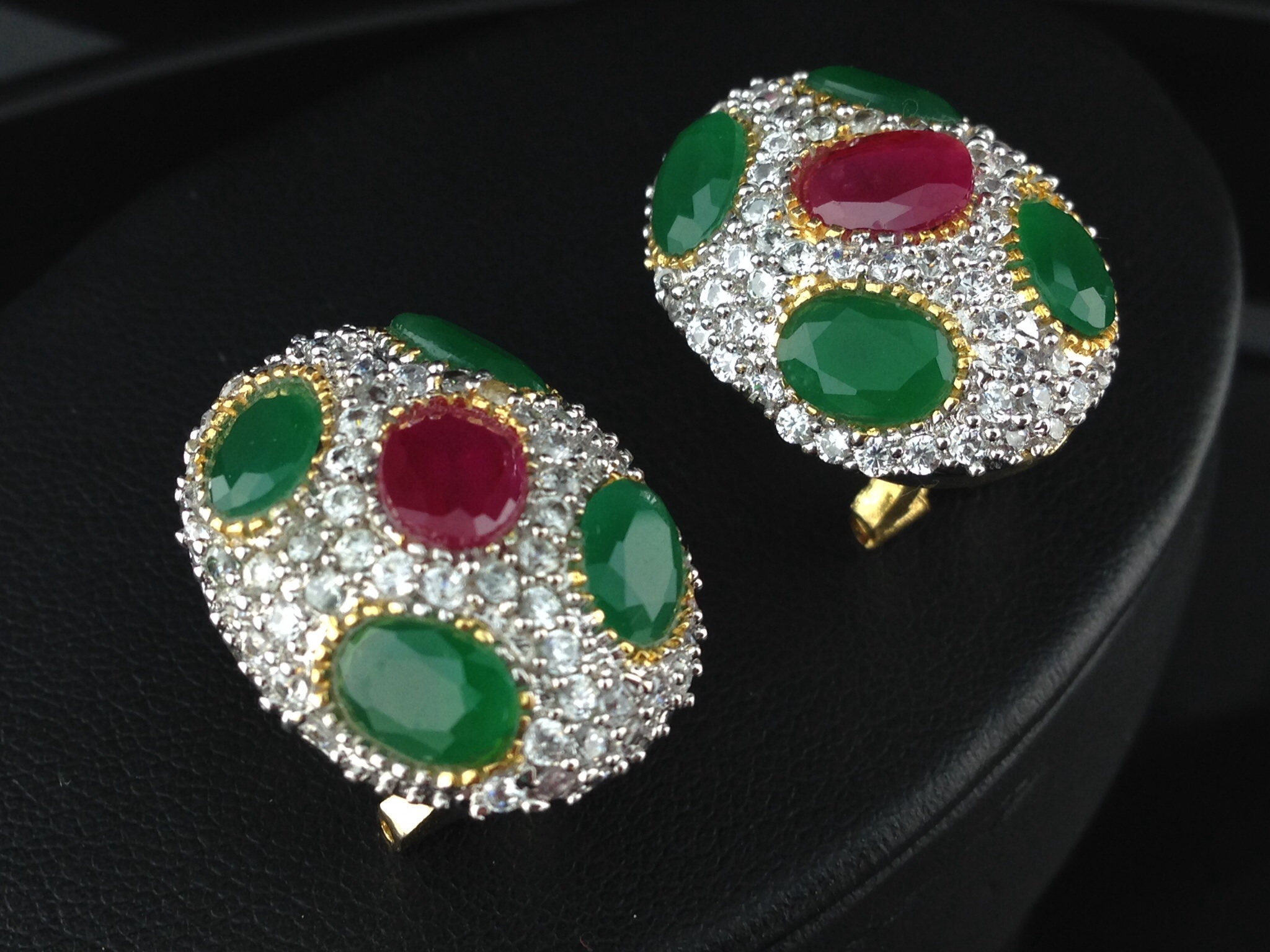 American Diamond CZ Tops With Emeralds and Rubies