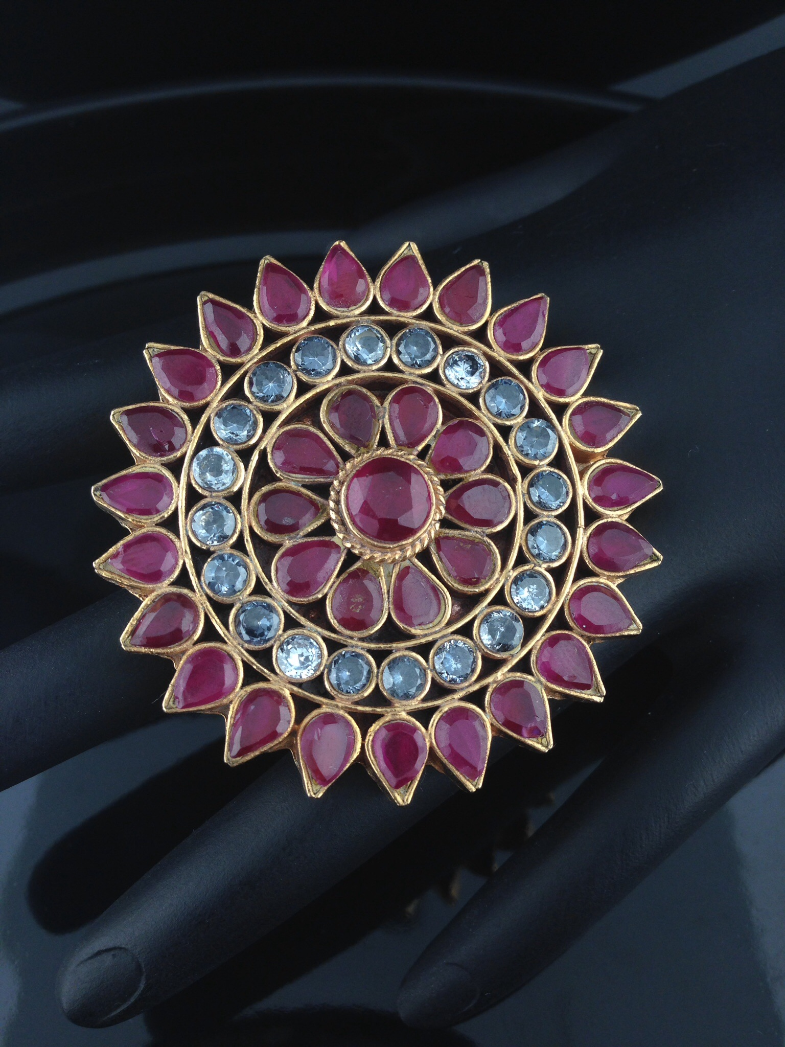 Kundan Rings with Rubies And Crystals