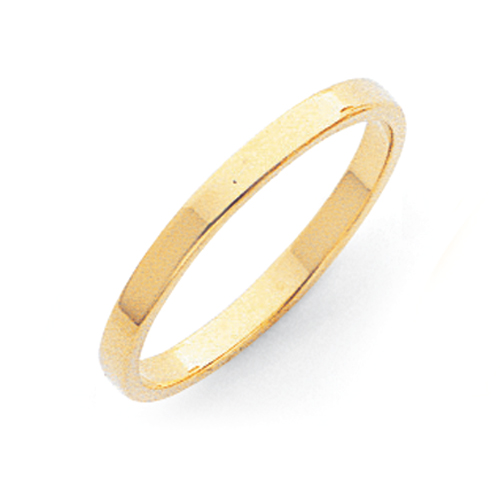14k 2mm Flat Wedding Band