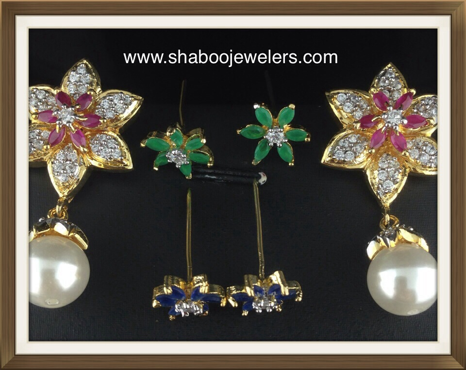 CZ Flower Shaped With Changeable Stones With Pearls