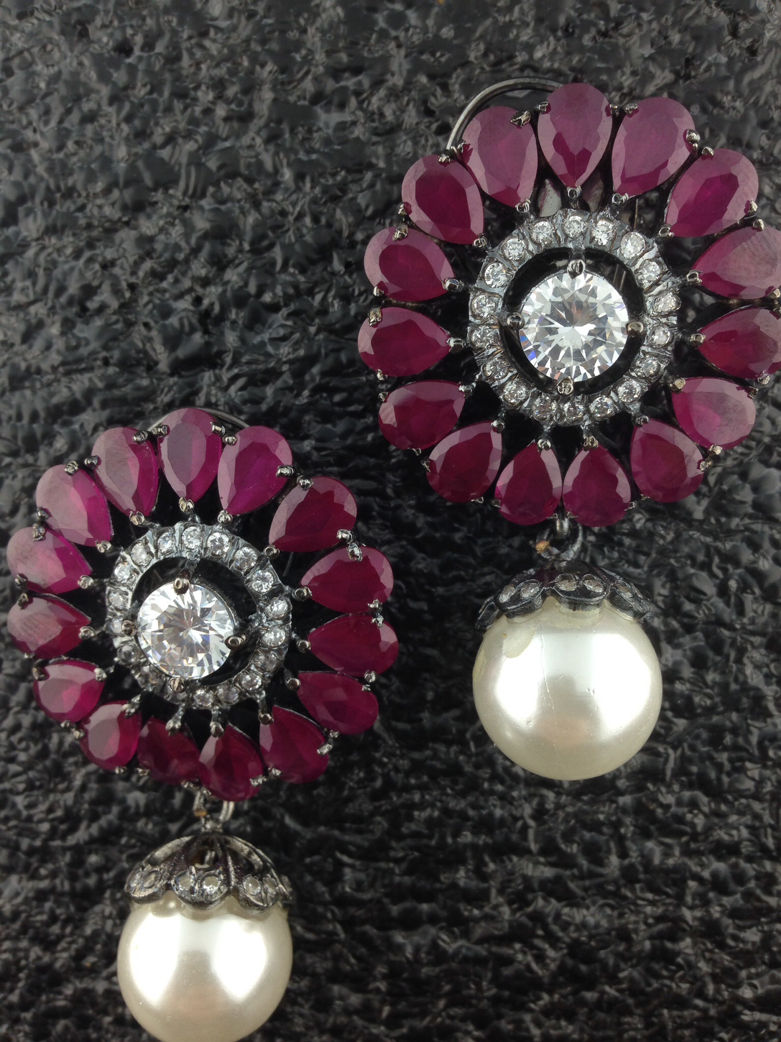 Flower Shaped CZ Designer Tops With Rubies And Pearls