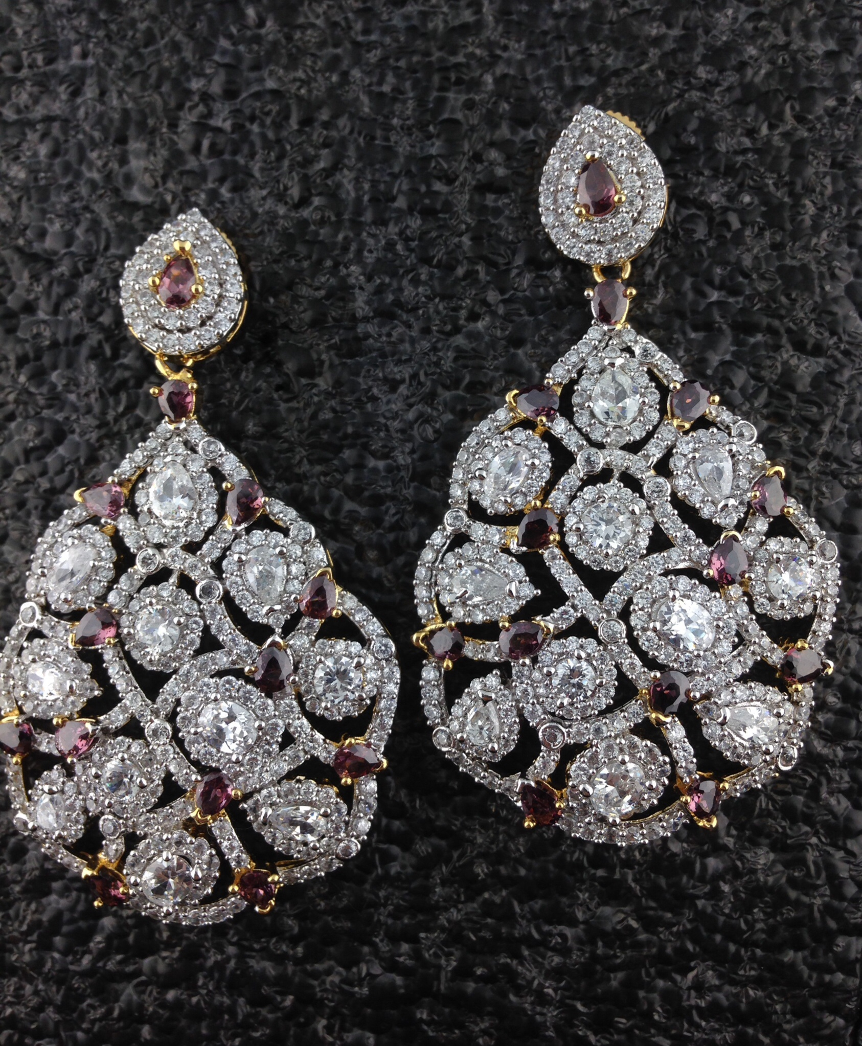 Designer CZ Earrings With Pink Sapphire.