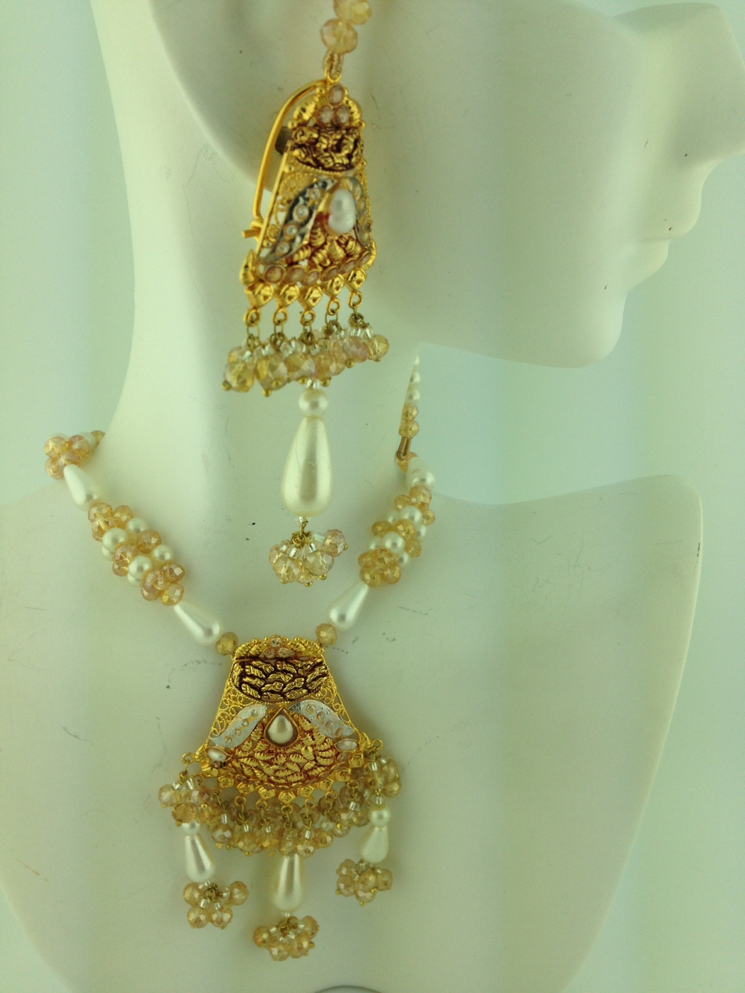 Sterling Sliver Gold Like Necklace Set With Real Gem Beads