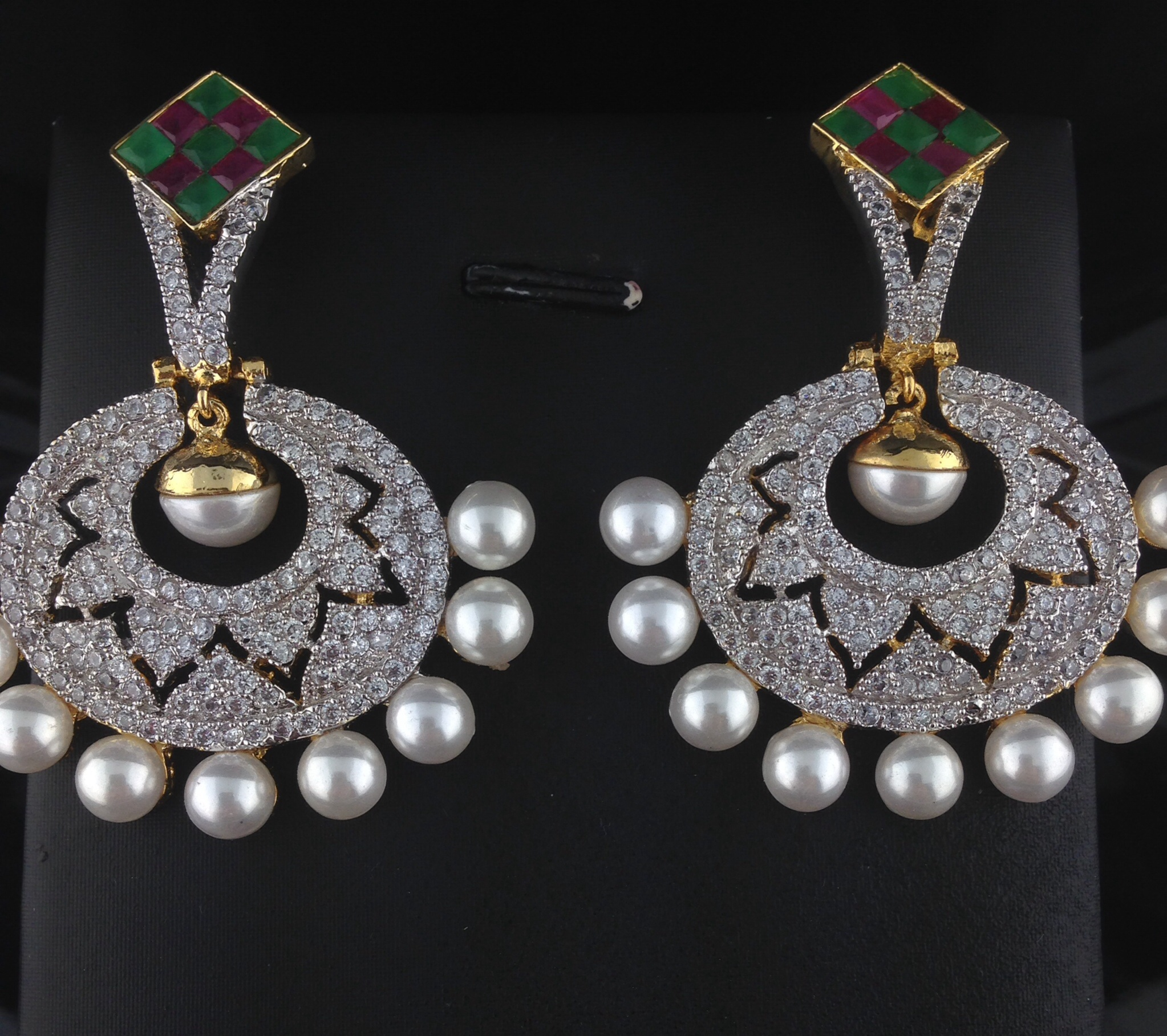 Stunning CZ Earrings With Rubies, Emeralds And Pearls