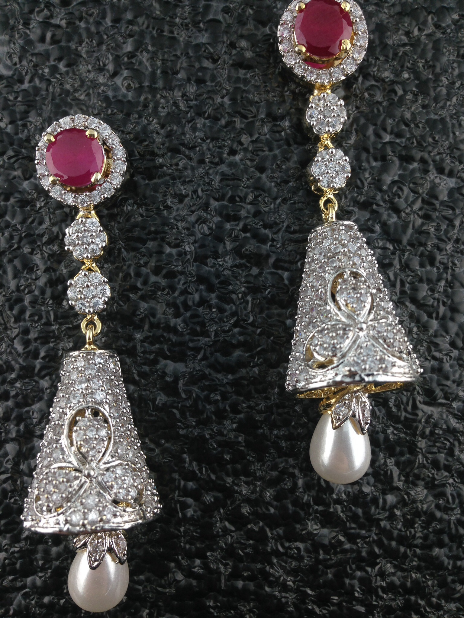CZ Designer Long Earrings With Rubies and Pearls.