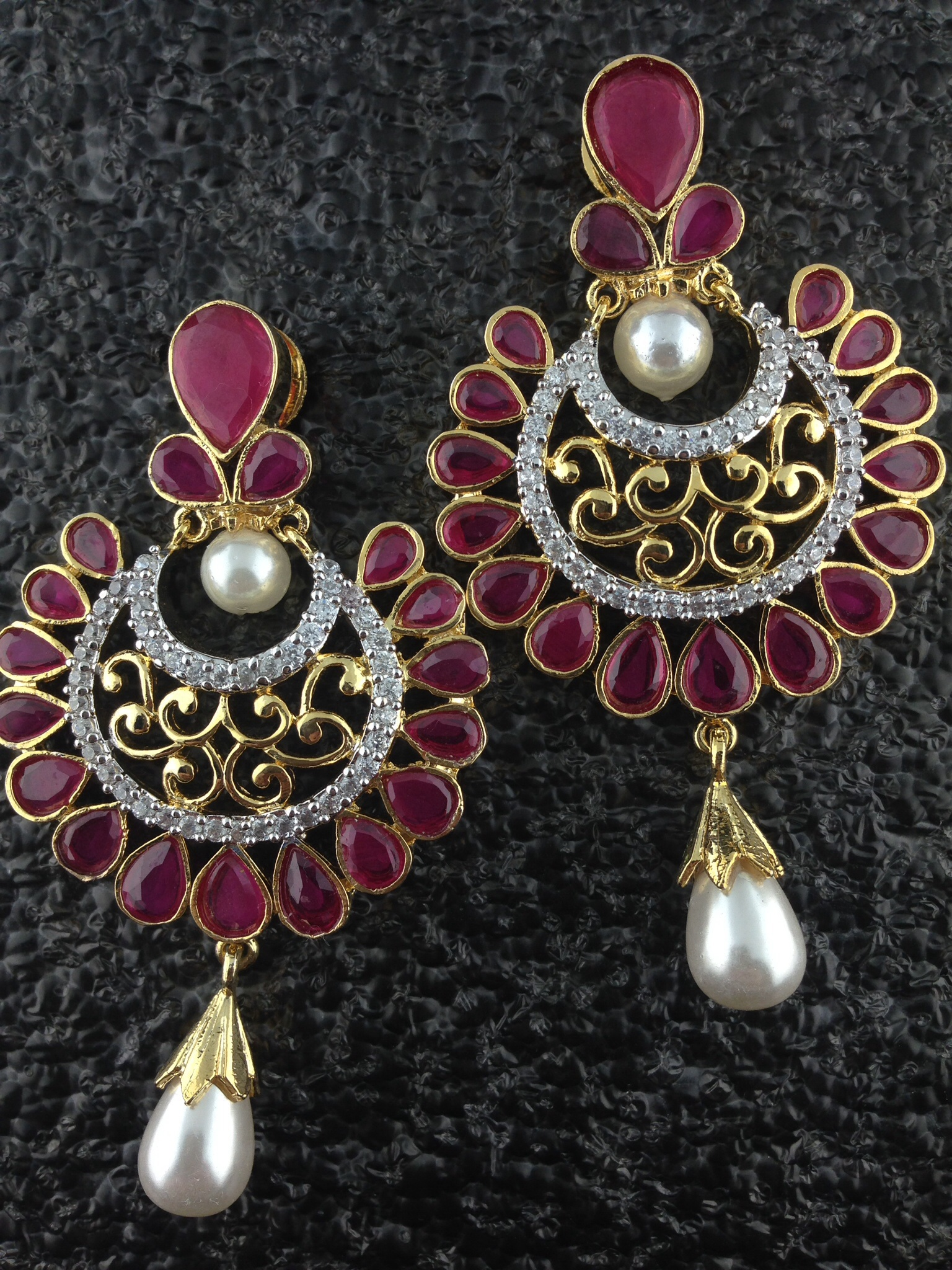 CZ Designer Circular Earrings With Rubies and Pearls.